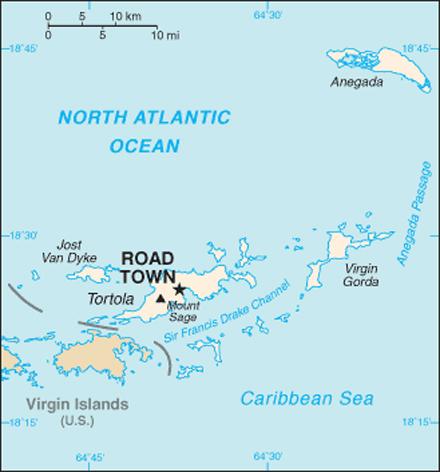 Britské Panenské Ostrovy, Mapa