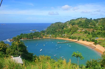 Trinidad a Tobago, Parlatuvier Bay, Populární turistické středisko v Tobagu